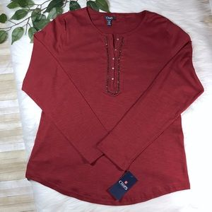 Chaps Blingy Placket Red Top XXL NWT